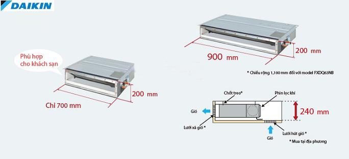 Điều hòa Âm trần nối ống gió Daikin 2 Chiều 43.000 BTU | Độ cao điều hòa