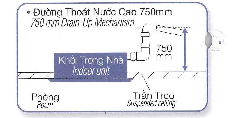 Điều hòa cassette âm trần Panasonic 2 chiều lạnh 34.100 BTU | Ống thoát nước