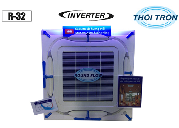 Điều Hòa Âm Trần Cassette Daikin Inverter 1 Chiều 42.700 BTU (FCF125CVM/RZF125CYM) Điều Khiển Không Dây (BRC7M635F+BYCQ125EAF)