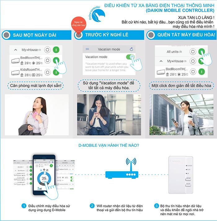 Điều hòa Multi S có thể điều khiển bằng điện thoại